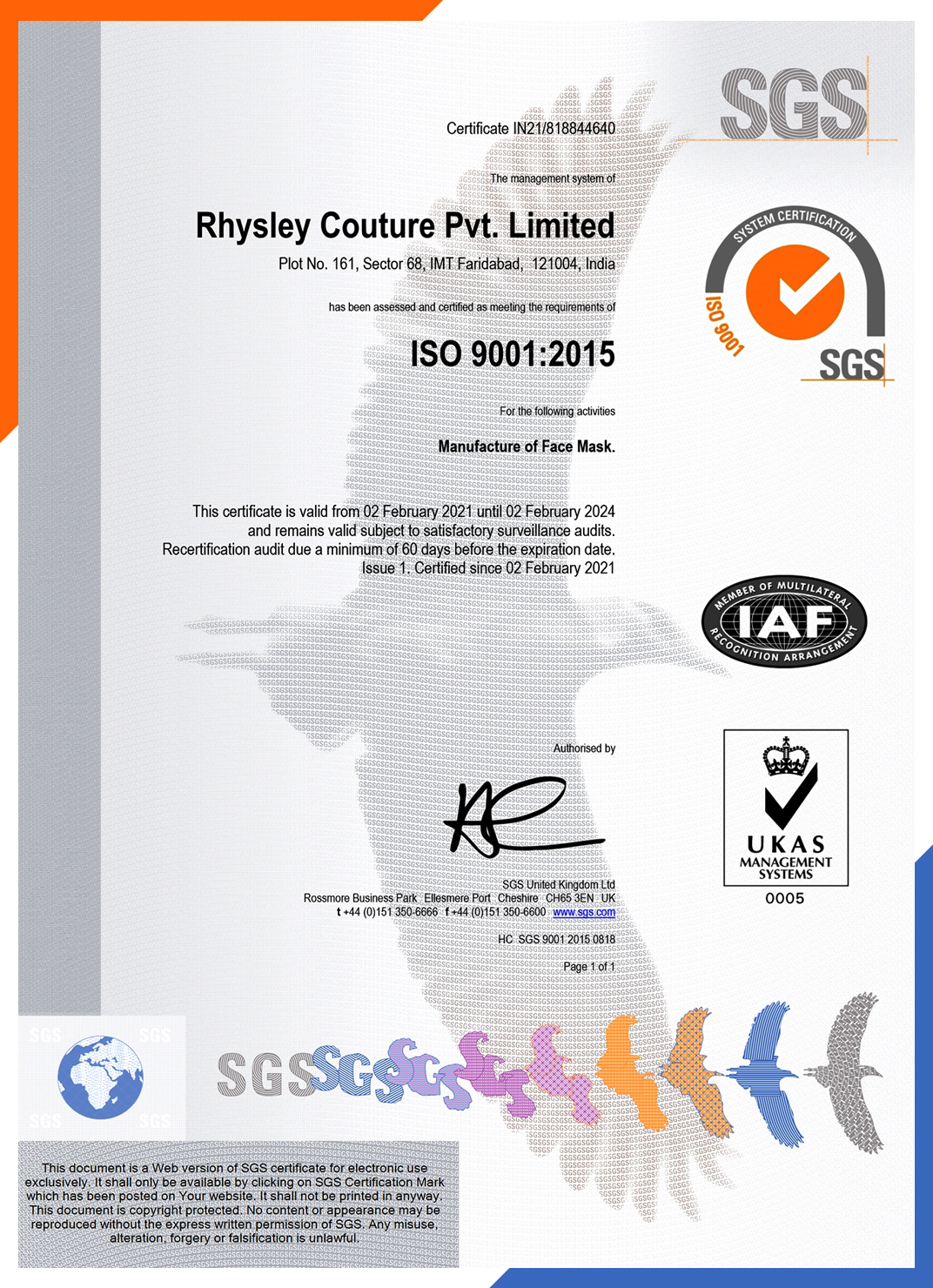 SGS ISO 9001 Certificate