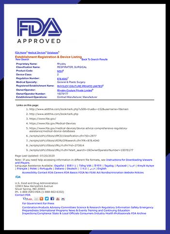 FDA Approval Certificate N95 Face Mask